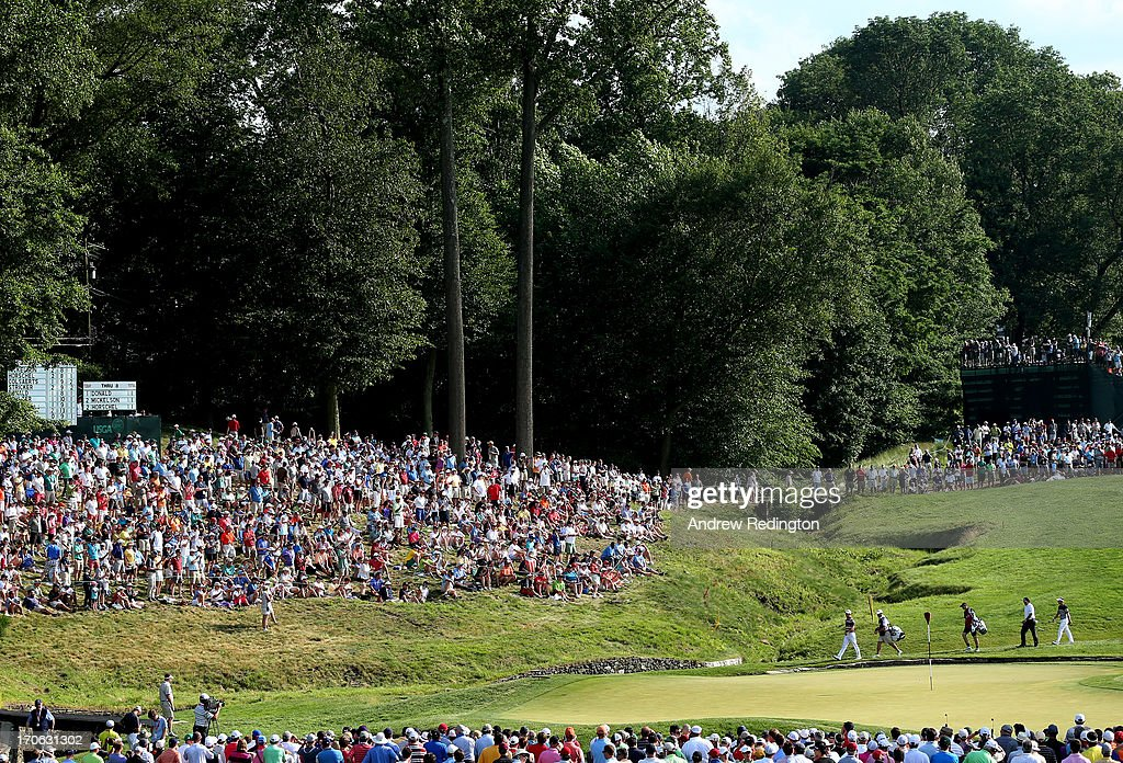 Phil Mickelson of the United States, Luke Donald of England and Billy Horschel of the United States walk onto the ninth green during Round Three of the 113th U.S. Open at Merion Golf Club on June 15, 2013 in Ardmore, Pennsylvania.