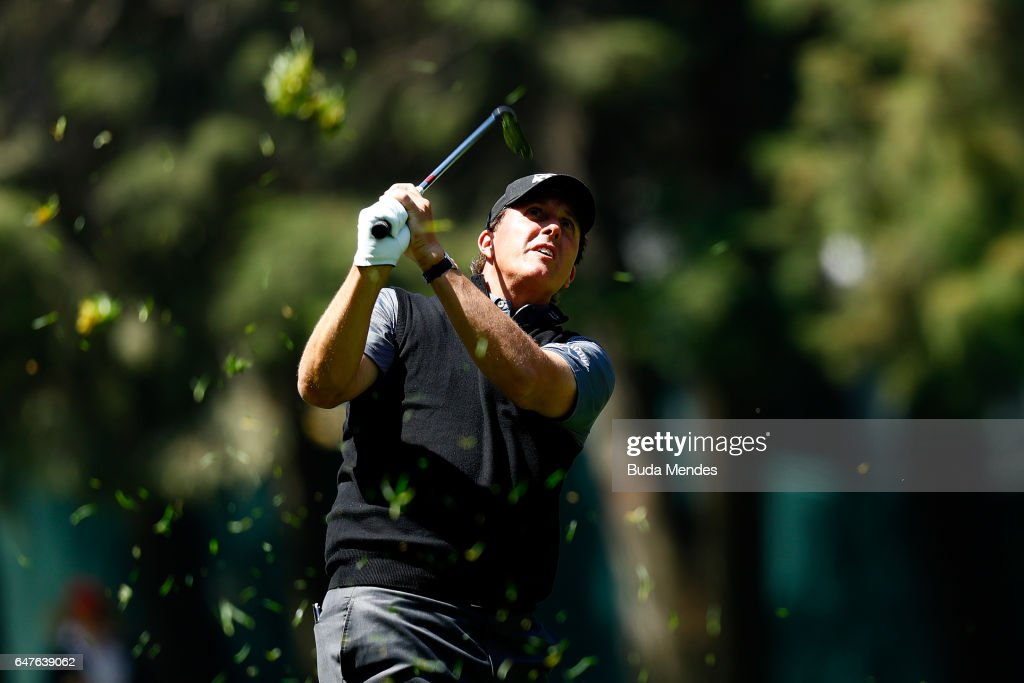 Phil Mickelson of the United States plays a shot on the 11th hole during the second round of the World Golf Championships Mexico Championship at Club De Golf Chapultepec on March 3, 2017 in Mexico City, Mexico.