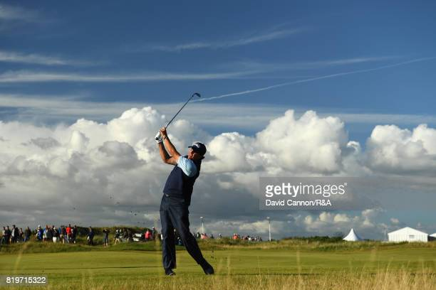 Phil Mickelson of the United States plays his second shot on the 17th hole during the first round of the 146th Open Championship at Royal Birkdale on...