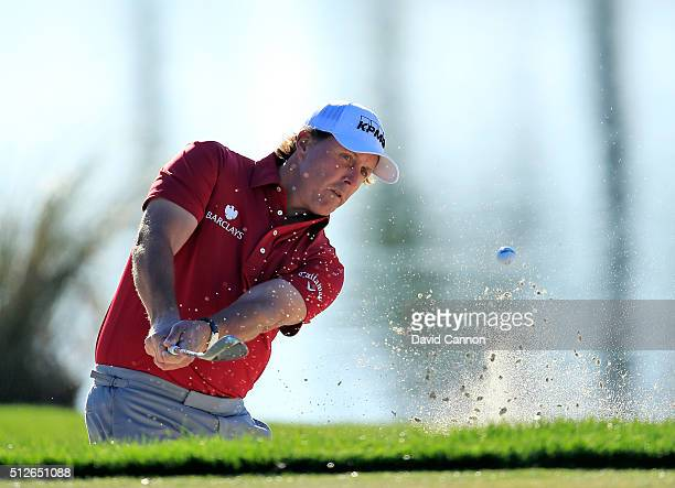 Phil Mickelson of the United States plays his second shot on the par 4 first hole during the third round of the 2016 Honda Classic held on the PGA...
