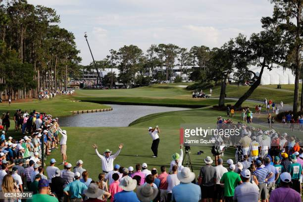 Phil Mickelson of the United States plays his shot from the 16th tee during the second round of THE PLAYERS Championship at the Stadium course at TPC...