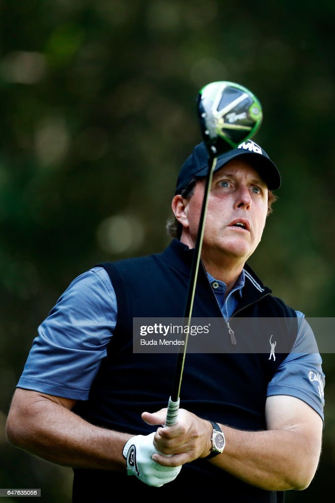 Phil Mickelson of the United States plays his tee shot on the tenth hole during the second round of the World Golf Championships Mexico Championship at Club De Golf Chapultepec on March 3, 2017 in Mexico City, Mexico.