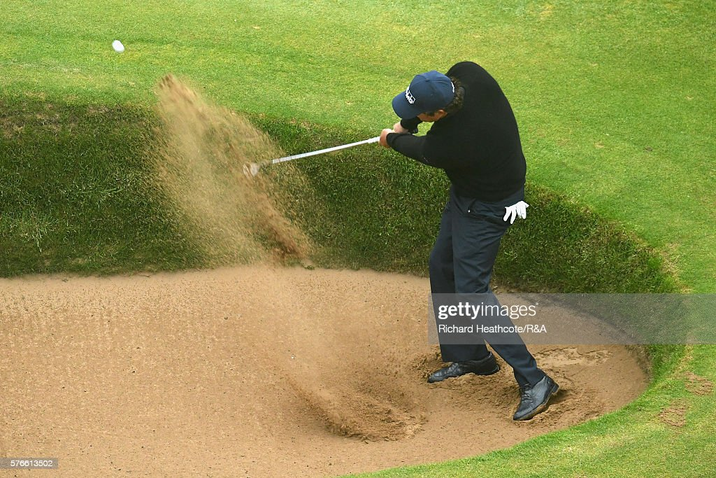 Phil Mickelson of the United States plays his third shot on the 18th hole during the third round on day three of the 145th Open Championship at Royal Troon on July 16, 2016 in Troon, Scotland.