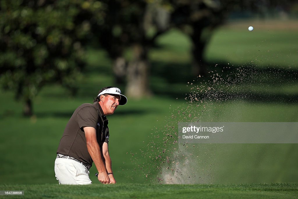 Phil Mickelson of the United States plays his third shot on the par 4, 15th hole during the first round of the 2013 Arnold Palmer Invitational Presented by Mastercard at Bay Hill Golf and Country Club on March 21, 2013 in Orlando, Florida.