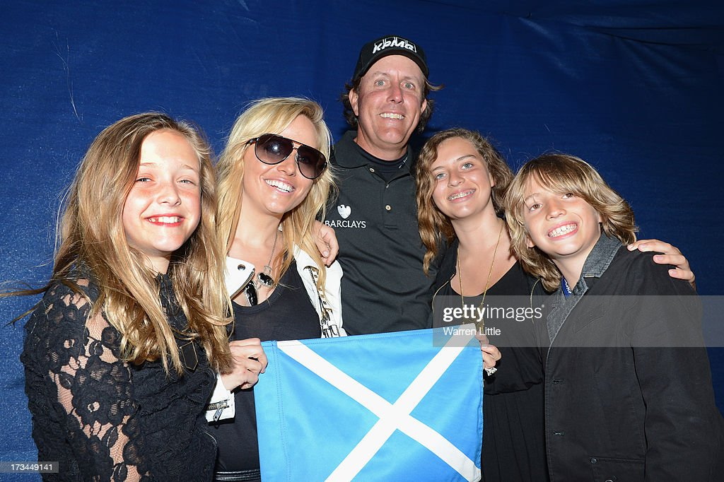 <a gi-track='captionPersonalityLinkClicked' href=/galleries/search?phrase=Phil+Mickelson&family=editorial&specificpeople=157543 ng-click='$event.stopPropagation()'>Phil Mickelson</a> of the United States poses with his wife Amy and children Evan, Amanda and Sophia (L) after his victory on the 1st hole of a sudden-death playoff during the final round of the Aberdeen Asset Management Scottish Open at Castle Stuart Golf Links on July 14, 2013 in Inverness, Scotland.