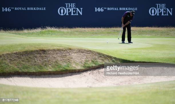 Phil Mickelson of the United States putts during a practice round prior to the 146th Open Championship at Royal Birkdale on July 18 2017 in Southport...