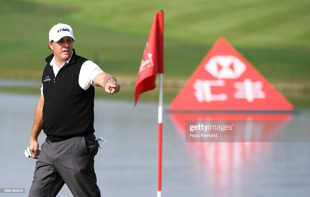 Phil Mickelson of the United States reacts on the 14th green during the pro-am prior to the WGC - HSBC Champions at Sheshan International Golf Club on October 25, 2017 in Shanghai, China.
