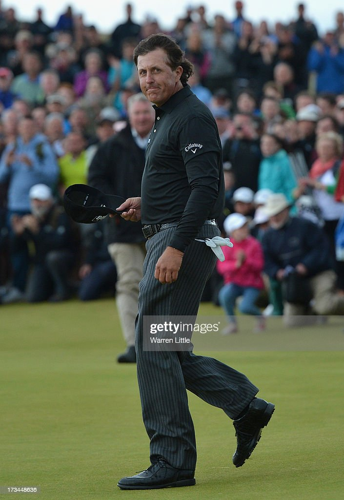 <a gi-track='captionPersonalityLinkClicked' href=/galleries/search?phrase=Phil+Mickelson&family=editorial&specificpeople=157543 ng-click='$event.stopPropagation()'>Phil Mickelson</a> of the United States reacts on the 18th green after his victory on the 1st hole of a sudden-death playoff during the final round of the Aberdeen Asset Management Scottish Open at Castle Stuart Golf Links on July 14, 2013 in Inverness, Scotland.