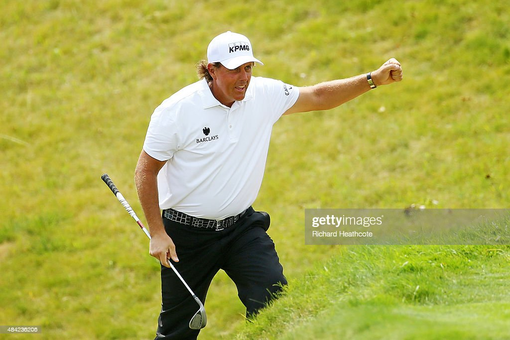 Phil Mickelson of the United States reacts to his eagle on the sixth hole during the final round of the 2015 PGA Championship at Whistling Straits on August 16, 2015 in Sheboygan, Wisconsin.
