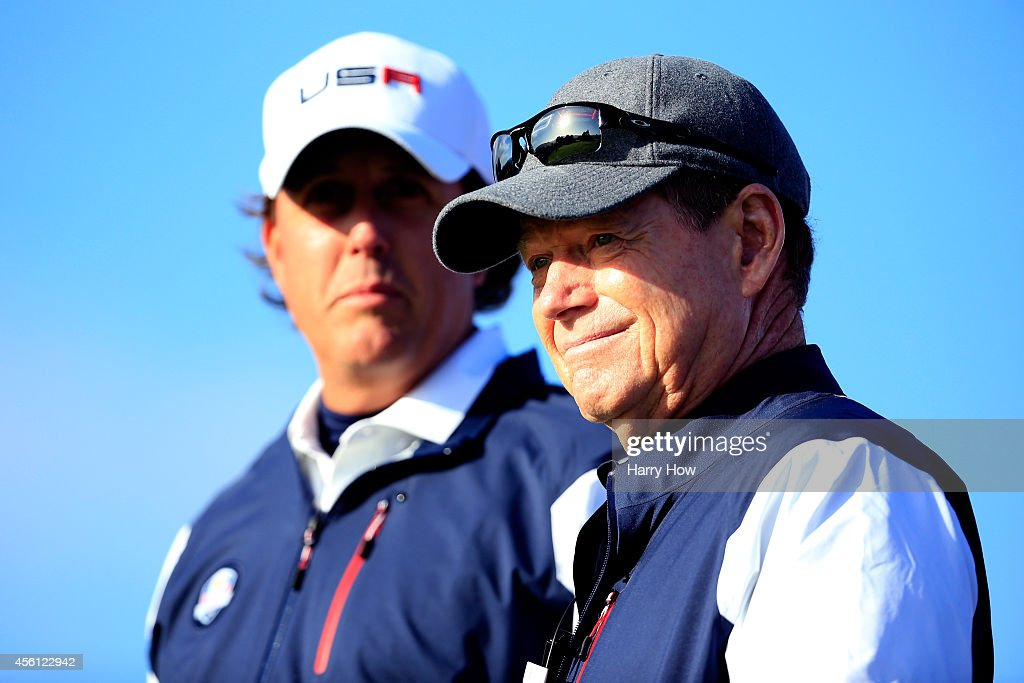 Phil Mickelson (L) of the United States talks with captain Tom Watson on the 6th tee during the Morning Fourballs of the 2014 Ryder Cup on the PGA Centenary course at the Gleneagles Hotel on September 26, 2014 in Auchterarder, Scotland.