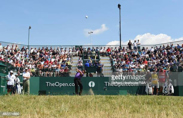 Phil Mickelson of the United States tees off at the first hole during the first round of The 143rd Open Championship at Royal Liverpool on July 17...