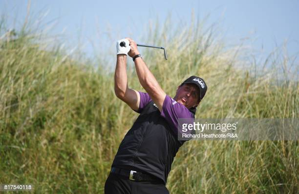Phil Mickelson of the United States tees off during a practice round prior to the 146th Open Championship at Royal Birkdale on July 18 2017 in...