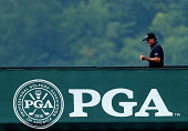 Phil Mickelson of the United States walks off the practice ground during the final round of the 96th PGA Championship at Valhalla Golf Club on August...