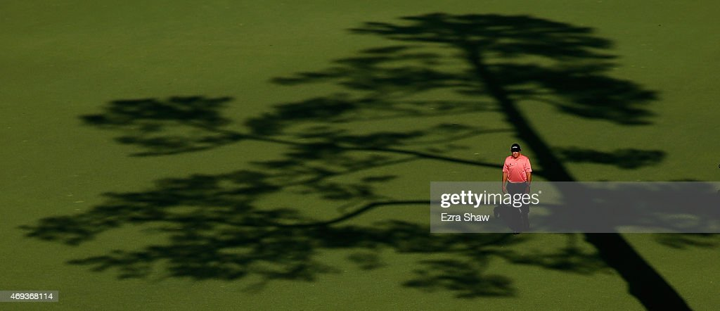 Phil Mickelson of the United States walks on the 15th hole during the third round of the 2015 Masters Tournament at Augusta National Golf Club on...