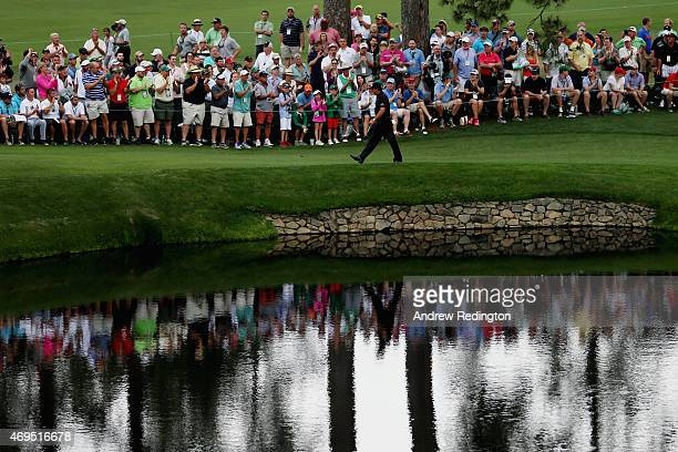 Phil Mickelson of the United States walks to the 15th green during the final round of the 2015 Masters Tournament at Augusta National Golf Club on...
