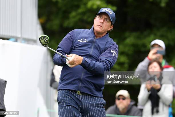 Phil Mickelson of the United States watches his drive on one during the third round of the Dell Technologies Championship on September 3 at TPC...