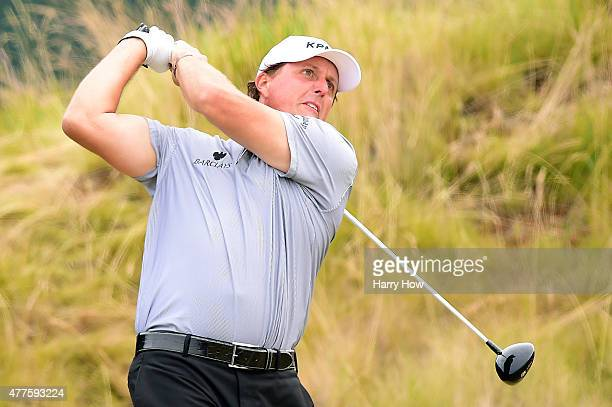 Phil Mickelson of the United States watches his tee shot on the sixth tee during the first round of the 115th US Open Championship at Chambers Bay on...