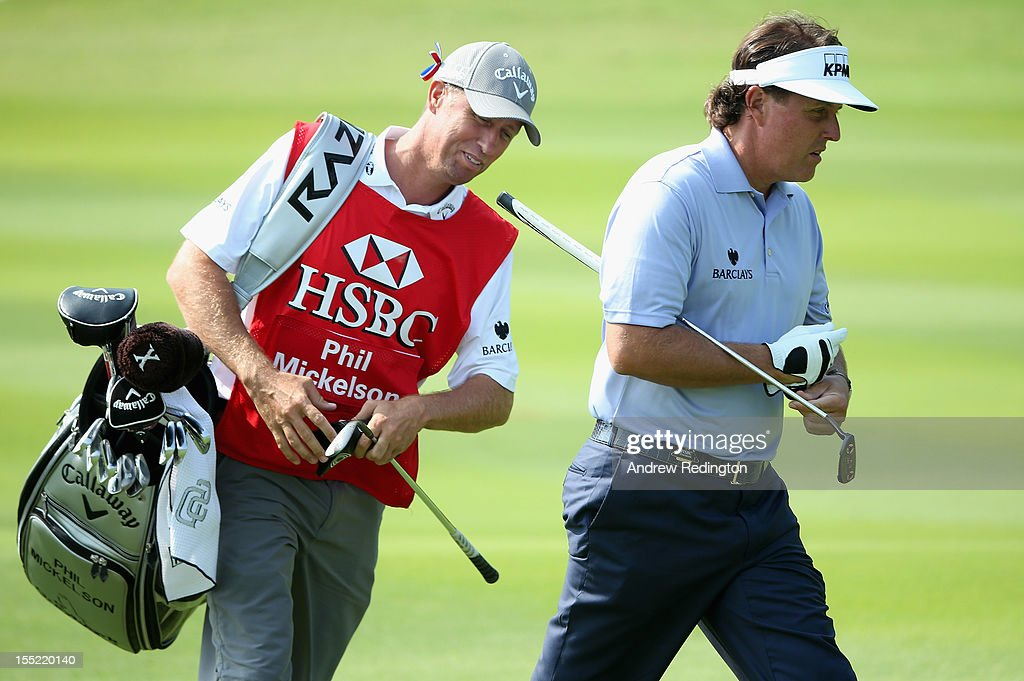 <a gi-track='captionPersonalityLinkClicked' href=/galleries/search?phrase=Phil+Mickelson&family=editorial&specificpeople=157543 ng-click='$event.stopPropagation()'>Phil Mickelson</a> of the USA and his caddie Jim 'Bones' Mackay look dejected during the second round of the WGC HSBC Champions at the Mission Hills Resort on November 2, 2012 in Shenzhen, China.