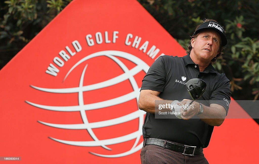 <a gi-track='captionPersonalityLinkClicked' href=/galleries/search?phrase=Phil+Mickelson&family=editorial&specificpeople=157543 ng-click='$event.stopPropagation()'>Phil Mickelson</a> of the USA watches his tee shot on the 11th hole during the first round of the WGC-HSBC Champions at the Sheshan International Golf Club on October 31, 2013 in Shanghai, China.