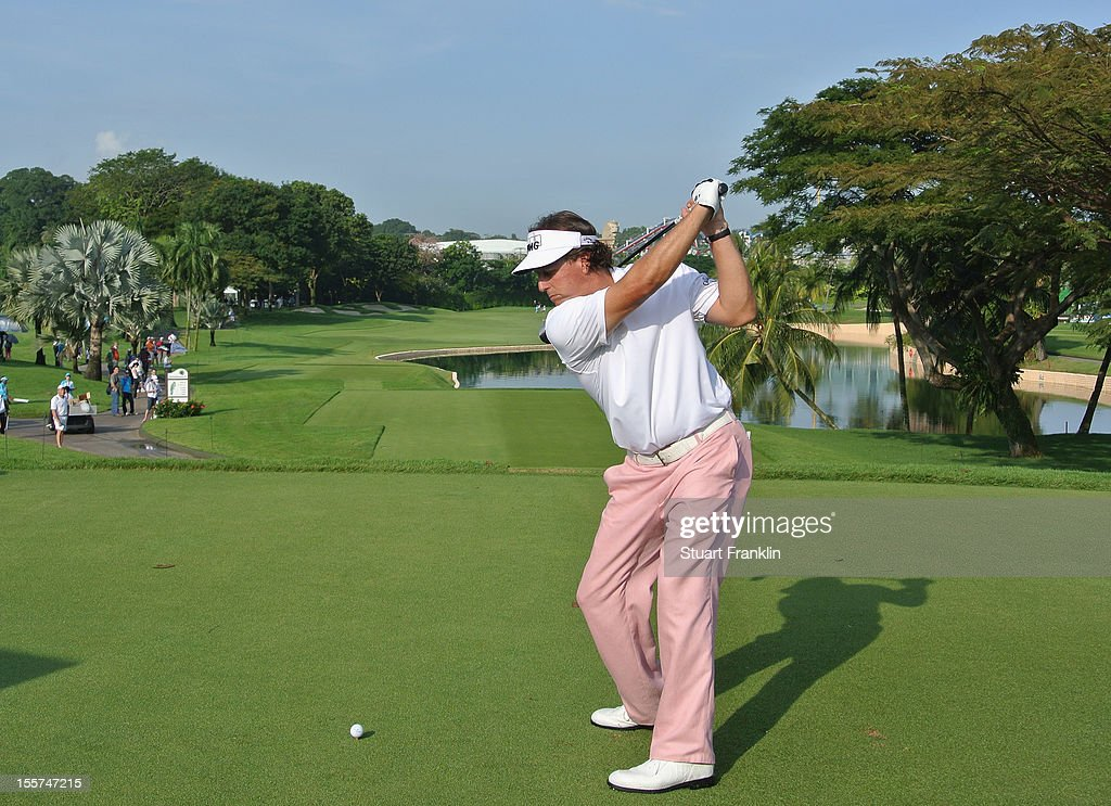 Phil Mickelson of USA plays a shot during the first round of the Barclays Singapore Open at the Sentosa Golf Club on November 8, 2012 in Singapore.