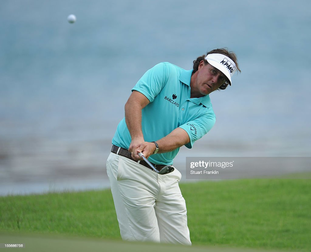 Phil Mickelson of USA plays a shot during the pro - am prior to the start of the Barclays Singapore Open at the Sentosa Golf Club on November 7, 2012 in Singapore.