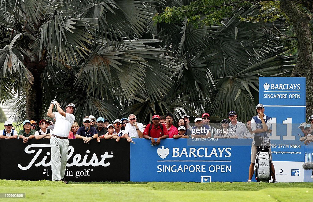 Phil Mickelson of USA plays his tee shot on the 11th hole during the continuation of the rain delayed second round of the Barclays Singapore Open at the Sentosa Golf Club on November 10, 2012 in Singapore.