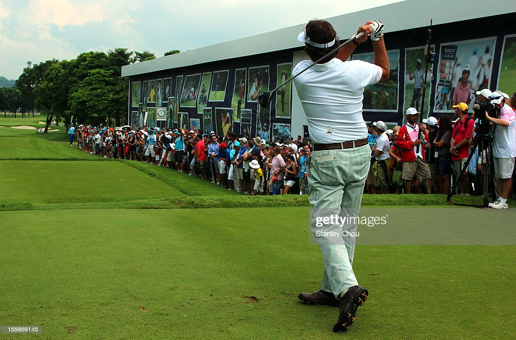 Phil Mickelson of USA tees off on the 10th hole during the continuation of the rain-delayed second round of the Barclays Singapore Open at the Sentosa Golf Club on November 10, 2012 in Singapore.