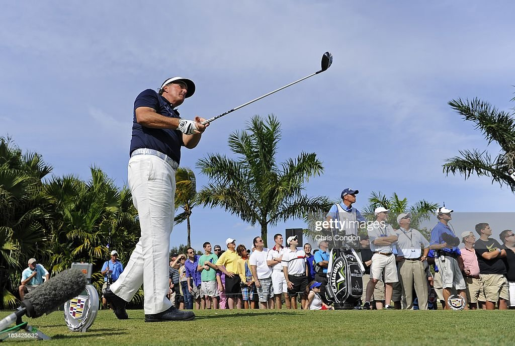 Phil Mickelson on the 8th tee during the third round of the World Golf Championships-Cadillac Championship at TPC Blue Monster at Doral on March 9, 2013 in Doral, Florida.