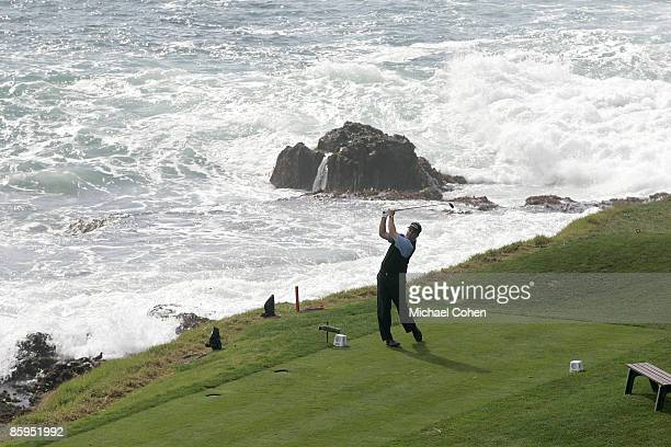 Phil Mickelson on the eighth tee during the fourth round of the ATT Pebble Beach National ProAm on the Pebble Beach Golf Links in Pebble Beach...