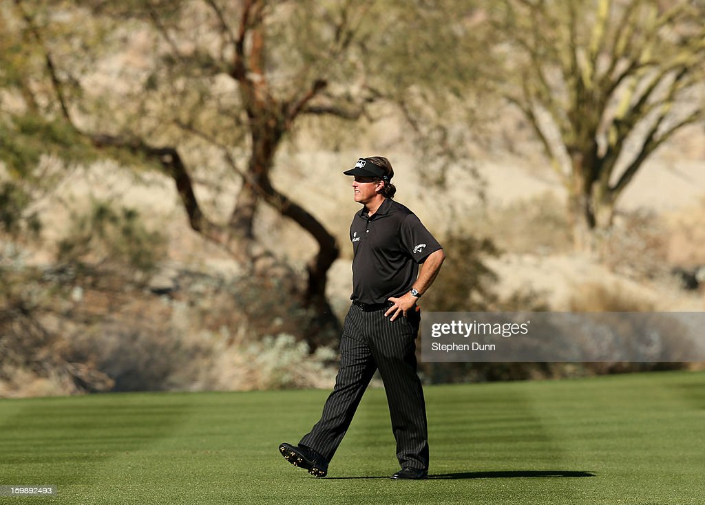 Phil Mickelson on the fairway on the 14th hole during the final round of the Humana Challenge In Partnership With The Clinton Foundation on the Palmer Private Course at PGA West on January 20, 2013 in La Quinta, California.