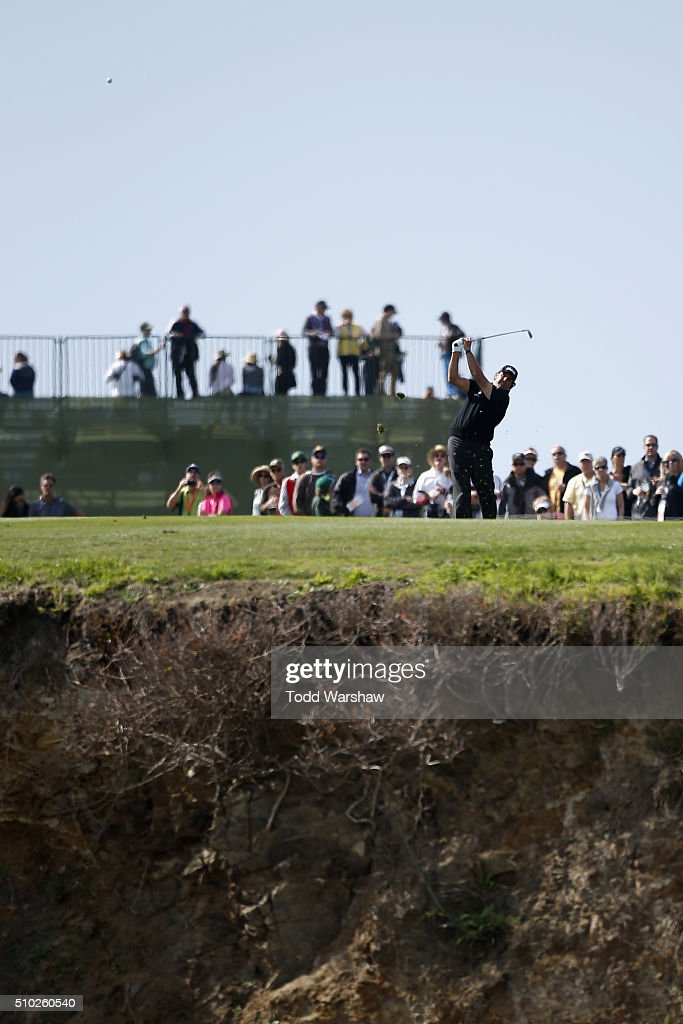 <a gi-track='captionPersonalityLinkClicked' href=/galleries/search?phrase=Phil+Mickelson&family=editorial&specificpeople=157543 ng-click='$event.stopPropagation()'>Phil Mickelson</a> plays a shot from the eighth fairway during the final round of the AT&T Pebble Beach National Pro-Am at the Pebble Beach Golf Links on February 14, 2016 in Pebble Beach, California.