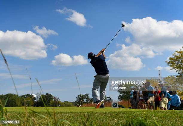 Phil Mickelson plays a tee shot on the fourth hole during the final round of the BMW Championship at Conway Farms Golf Club on September 17 2017 in...