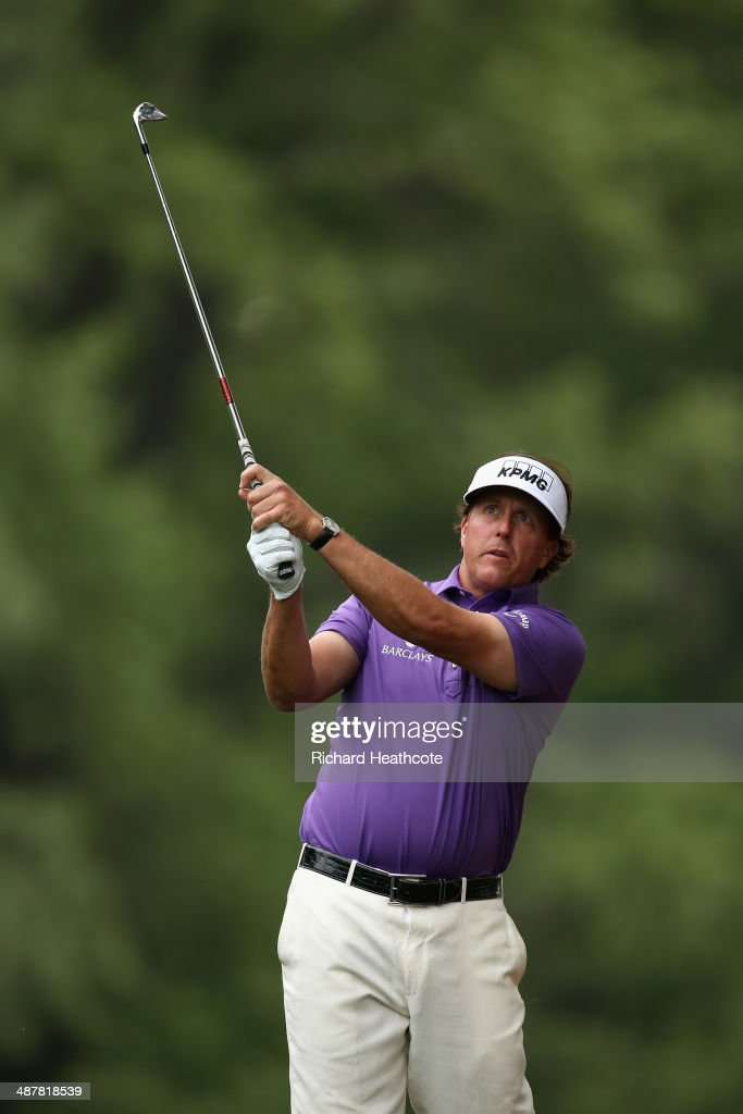 Phil Mickelson plays from the pine straw on the 11th during the second round of the Wells Fargo Championship at the Quail Hollow Club on May 2, 2014 in Charlotte, North Carolina.
