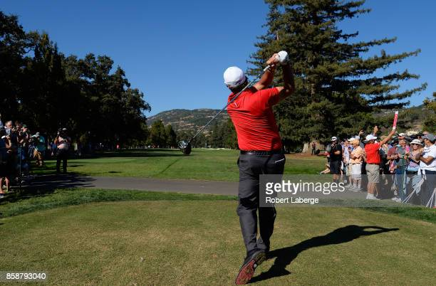 Phil Mickelson plays his shot from the 14th tee during the third round of the Safeway Open at the North Course of the Silverado Resort and Spa on...