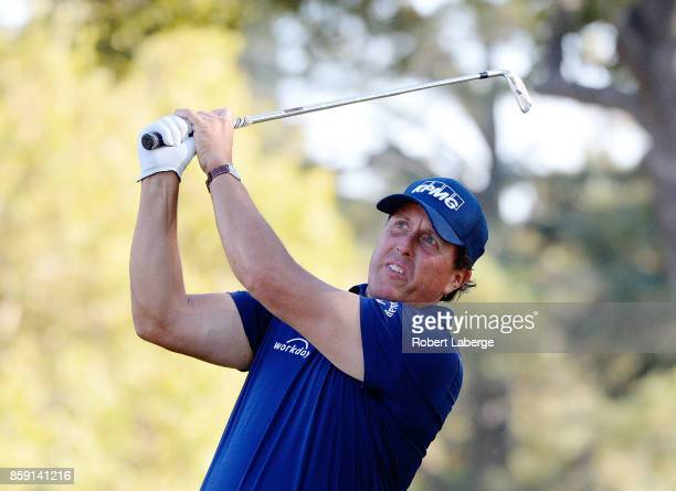 Phil Mickelson plays his shot from the 15th tee during the final round of the Safeway Open at the North Course of the Silverado Resort and Spa on...