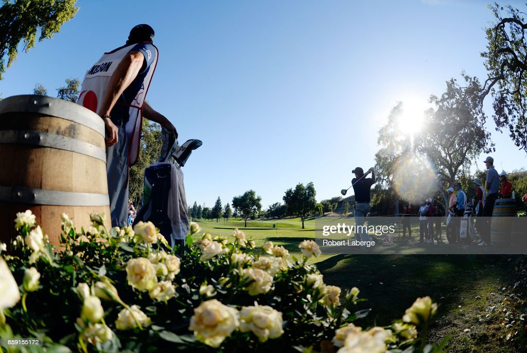 Phil Mickelson plays his shot from the 16th tee during the final round of the Safeway Open at the North Course of the Silverado Resort and Spa on October 8, 2017 in Napa, California.