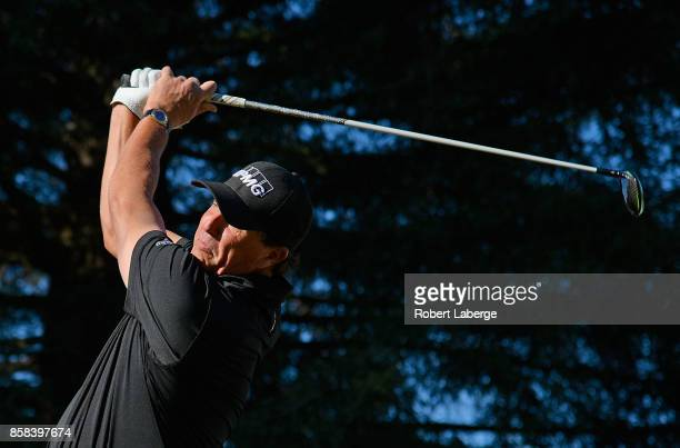 Phil Mickelson plays his shot from the 17th tee during the second round of the Safeway Open at the North Course of the Silverado Resort and Spa on...