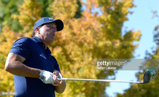 Phil Mickelson plays his shot from the first tee during the final round of the Safeway Open at the North Course of the Silverado Resort and Spa on...