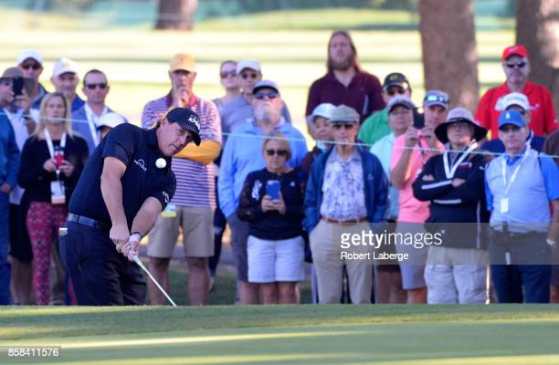 Phil Mickelson plays his shot on the 15th hole during the second round of the Safeway Open at the North Course of the Silverado Resort and Spa on...