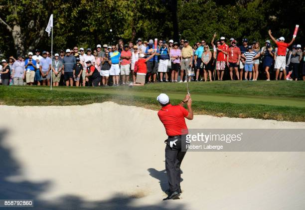 Phil Mickelson plays his shot out of the bunker on the 12th hole during the third round of the Safeway Open at the North Course of the Silverado...