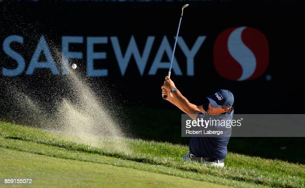 Phil Mickelson plays his shot out of the bunker on the 17th hole during the final round of the Safeway Open at the North Course of the Silverado...