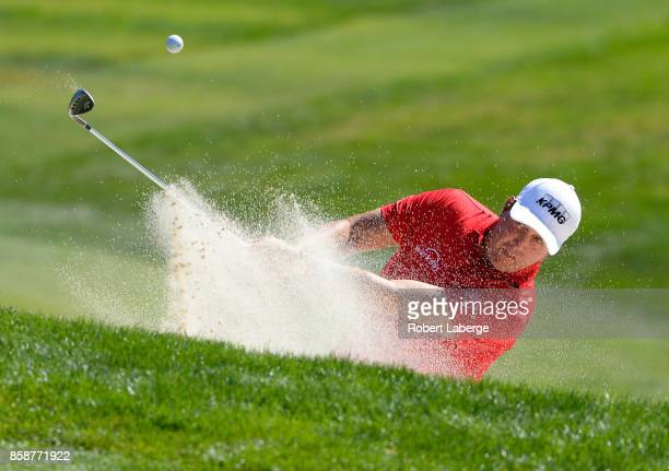 Phil Mickelson plays his shot out of the bunker on the second hole during the third round of the Safeway Open at the North Course of the Silverado...