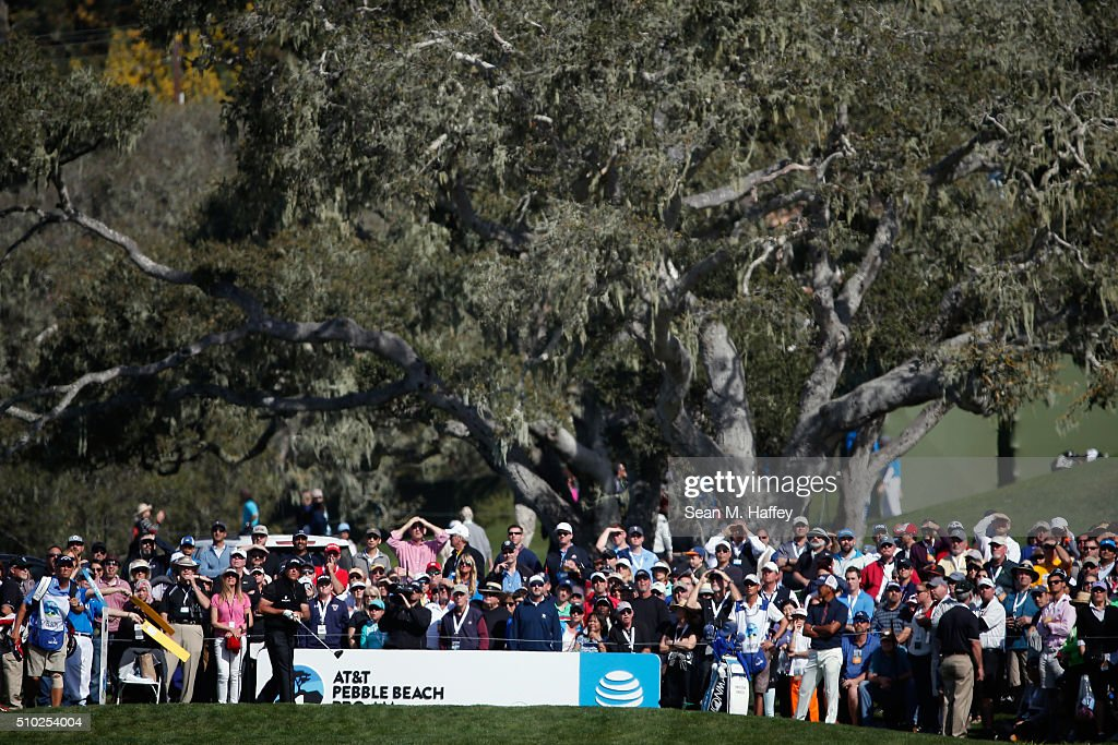 <a gi-track='captionPersonalityLinkClicked' href=/galleries/search?phrase=Phil+Mickelson&family=editorial&specificpeople=157543 ng-click='$event.stopPropagation()'>Phil Mickelson</a> plays his tee shot on the sixth hole during the final round of the AT&T Pebble Beach National Pro-Am at the Pebble Beach Golf Links on February 14, 2016 in Pebble Beach, California.