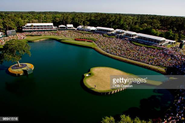 Phil Mickelson plays the 17th hole during the final round of THE PLAYERS Championship on THE PLAYERS Stadium Course at TPC Sawgrass on May 9 2010 in...