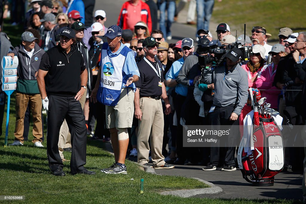 <a gi-track='captionPersonalityLinkClicked' href=/galleries/search?phrase=Phil+Mickelson&family=editorial&specificpeople=157543 ng-click='$event.stopPropagation()'>Phil Mickelson</a> prepares to play a shot from the rough near the sixth fairway during the final round of the AT&T Pebble Beach National Pro-Am at the Pebble Beach Golf Links on February 14, 2016 in Pebble Beach, California.