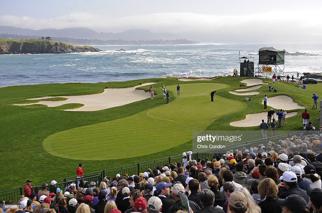 Phil Mickelson puts for birdie on during the third round of the ATT Pebble Beach National ProAm at Pebble Beach Golf Links on February 13 2010 in...