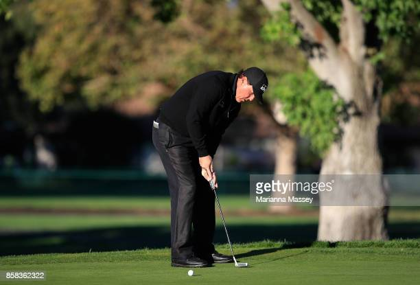 Phil Mickelson putts on the 12th hole during the second round of the Safeway Open at the North Course of the Silverado Resort and Spa on October 6...