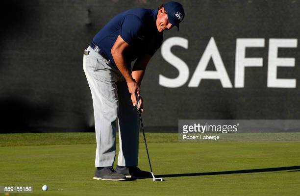 Phil Mickelson putts on the 17th hole during the final round of the Safeway Open at the North Course of the Silverado Resort and Spa on October 8...