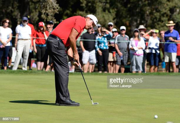 Phil Mickelson putts on the second hole during the third round of the Safeway Open at the North Course of the Silverado Resort and Spa on October 7...
