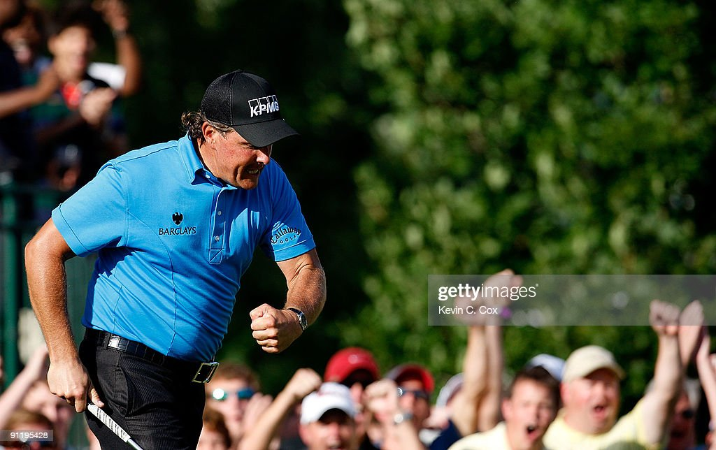 Phil Mickelson reacts after chipping in for birdie on the 16th green during the final round of THE TOUR Championship presented by Coca-Cola, the final event of the PGA TOUR Playoffs for the FedExCup, at East Lake Golf Club on September 27, 2009 in Atlanta, Georgia.